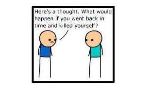 """<i>""""He aquí una cuestión. ¿Qué pasaría si viajamos atrás en el tiempo y nos matamos a nosotros mismos?</i>"""" <b>(Click para ver la tira completa)</b><br>"""
