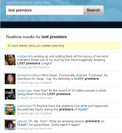 Twitter acerca de la premiere de la sexta temporada de Lost.